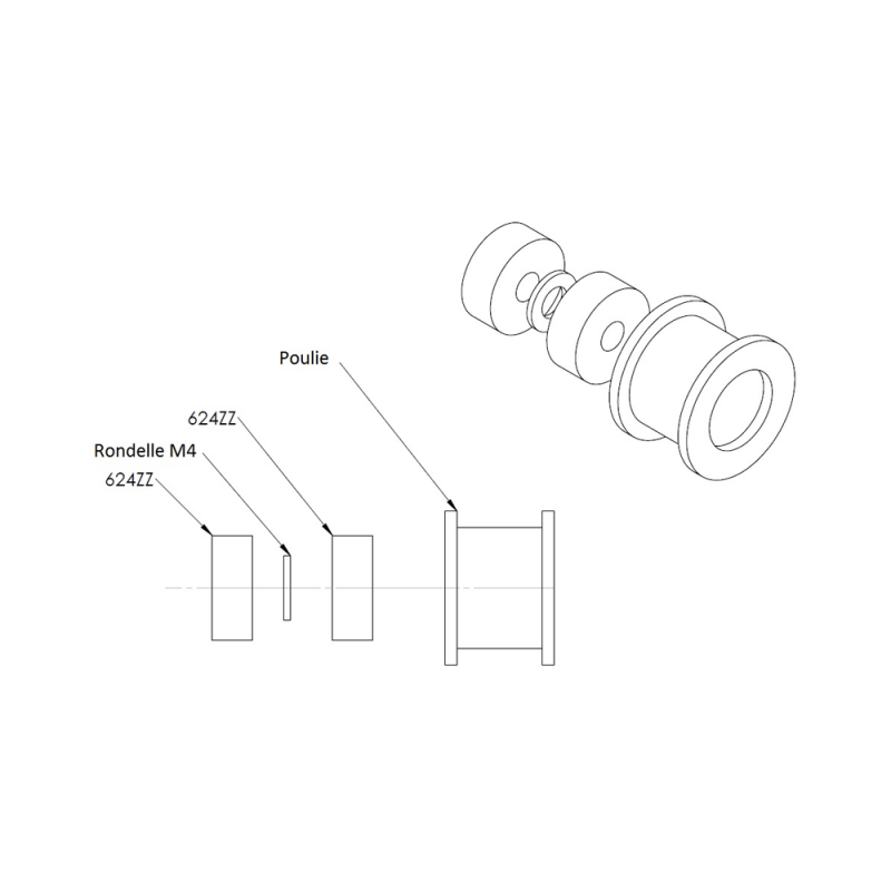 Idler pulley for 10mm belt