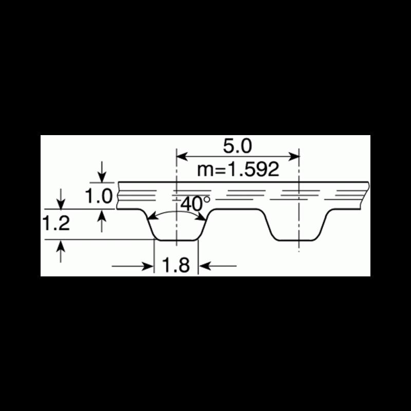 Courroie T5 15mm au mètre