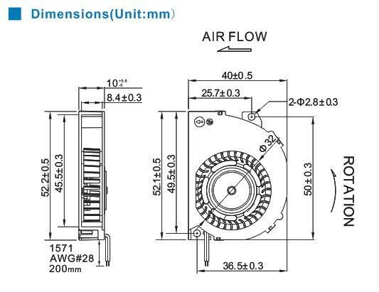 Blower fan 40x10mm 12V