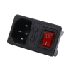 Red lighted switch with socket